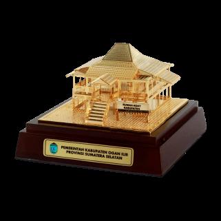 souvenir miniatur bangunan pemprov sumatra selatan